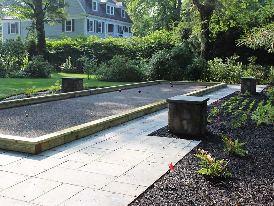 pittsburgh landscape design backyard bocce ball court