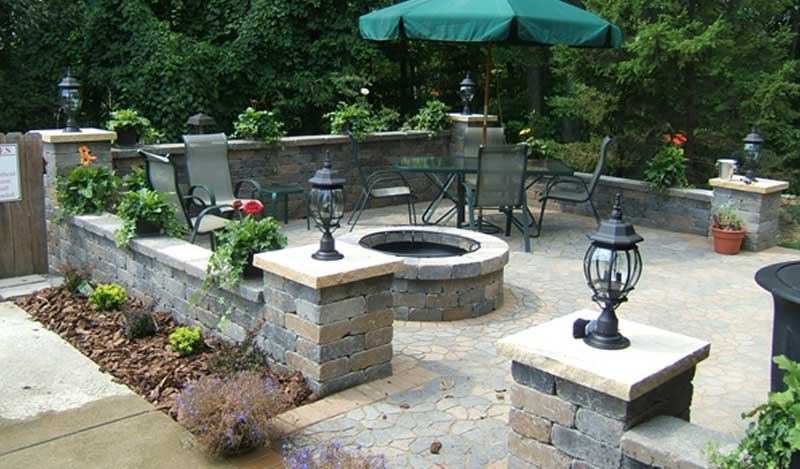 outdoor fire pit landscape contractor