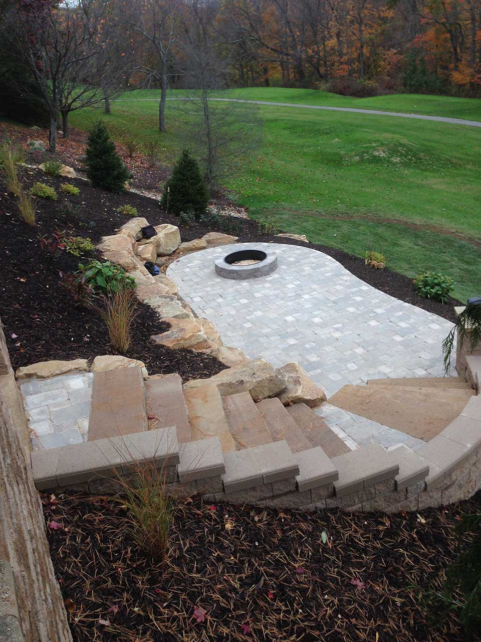 Landscape Edging Pittsburgh : Pittsburgh fire pit stone backyard