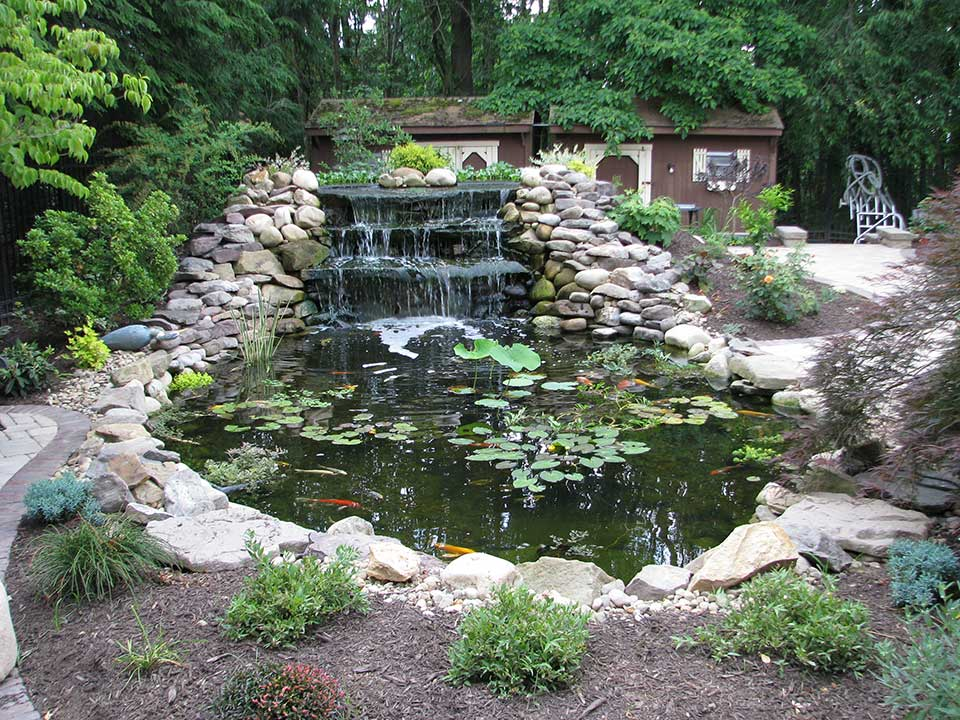 Pittsburgh koi pond waterfall outdoor fountains for Fish pond fountain design